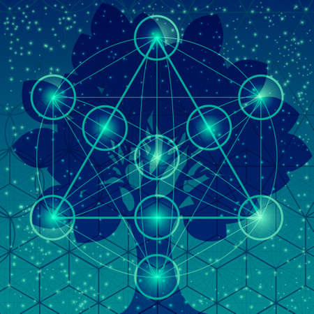 sacred: Tree with sacred geometry symbols and elements