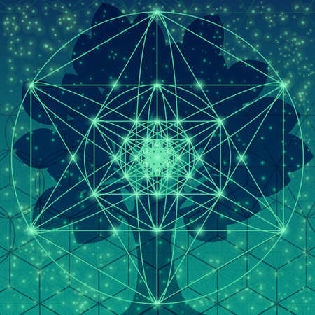Árbol con símbolos de geometría sagrada y elementos