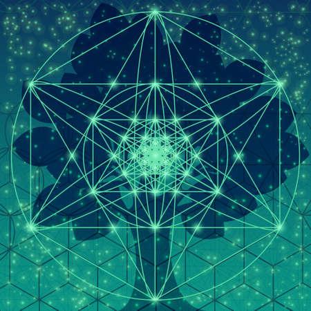 estrella de la vida: Árbol con símbolos de geometría sagrada y elementos Vectores