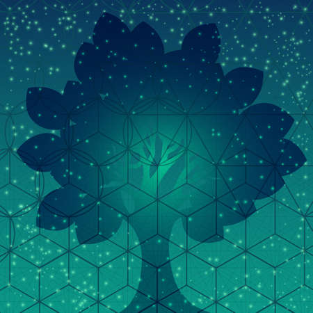 Tree with sacred geometry symbols and elements