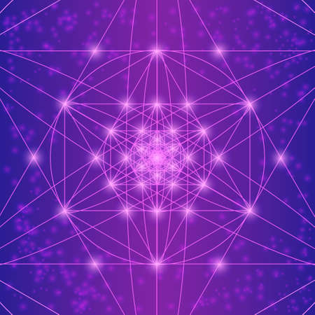 equilibrium: Sacred geometry symbols and elements. Flower of life. Equilibrium. Geometric religion sign. Violet and pink colors. Sacred mandala with spots. Spiritually theme. Illustration