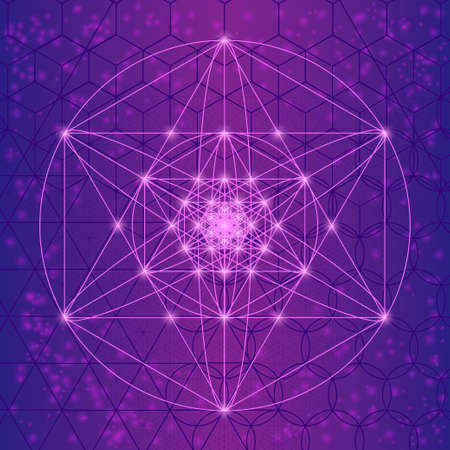 spiritual spirituality: Sacred spiritual geometry symbols and elements. Alchemy, religion, philosophy, mathematics, astrology and spirituality themes. Harmony sacred mesh with triangles, circles and squares.