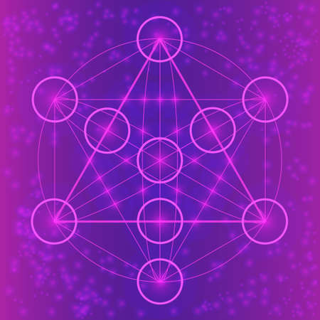 spiritually: Sacred geometry symbols and elements. Flower of life. Equilibrium. Geometric religion sign. Violet and pink colors. Sacred mandala with spots. Spiritually theme. Illustration