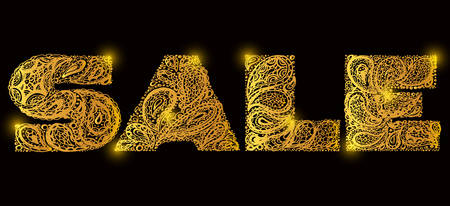 old letters: Sale. Quote lettering. Decorative Alphabet with a paisley zen doodle tattoo ornaments filling. Display font. Large letters. Hand drawn letters in old fashion vintage style. Gold color.