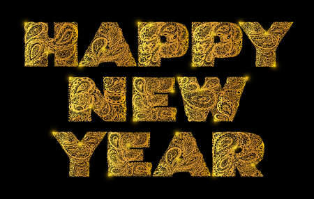 old fashion: Happy new year. Quote lettering. Decorative Alphabet with a paisley zen doodle tattoo ornaments filling. Display font. Large letters. Hand drawn letters in old fashion vintage style. Gold color.