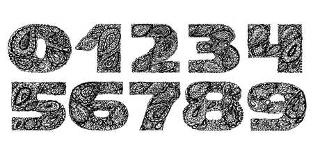 numers: Numbers decorative set with a paisley zen doodle tattoo ornaments filling. Display numeric. Hand drawn graphic elements in old fashion vintage style. Used for quote lettering. Black and white colors.