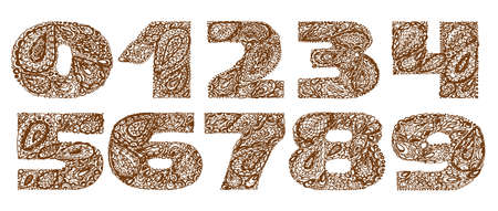 numers: Numbers decorative set with a paisley zen doodle tattoo ornaments filling. Display numeric. Hand drawn graphic elements in old fashion vintage style. Used for quote lettering. Brown colors.