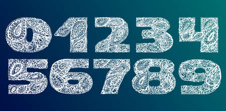 numers: Numbers decorative set with a paisley zen doodle tattoo ornaments filling. Display numeric. Hand drawn graphic elements in old fashion vintage style. Used for quote lettering. White colors on dark background.