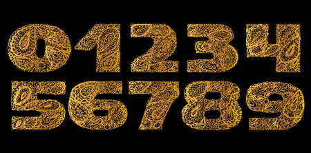 numers: Numbers decorative set with a paisley zen doodle tattoo ornaments filling. Display numeric. Hand drawn graphic elements in old fashion vintage style. Used for quote lettering. Gold colors.