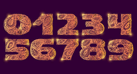 numers: Numbers decorative set with a paisley zen doodle tattoo ornaments filling. Display numeric. Hand drawn graphic elements in old fashion vintage style. Used for quote lettering. Violet gold colors.