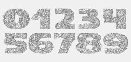 old fashion: Numbers decorative set with a paisley zen doodle tattoo ornaments filling. Display numeric. Hand drawn graphic elements in old fashion vintage style. Used for quote lettering. Gray colors.
