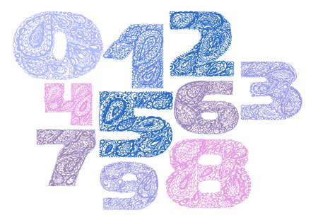 numers: Numbers decorative set with a paisley zen doodle tattoo ornaments filling. Display numeric. Hand drawn graphic elements in old fashion vintage style. Used for quote lettering. Blue and pink colors.