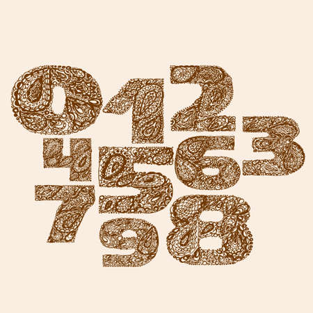 numers: Numbers decorative set with a paisley zen doodle tattoo ornaments filling. Display numeric. Hand drawn graphic elements in old fashion vintage style. Used for quote lettering.