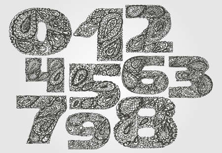 numers: Numbers decorative set with a paisley zen doodle tattoo ornaments filling. Display numeric. Hand drawn graphic elements in old fashion vintage style. Used for quote lettering. Gray colors.