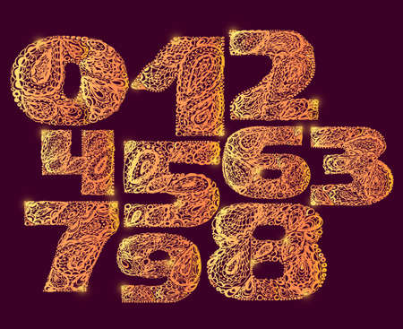 numers: Numbers gold decorative set with a paisley zen doodle tattoo ornaments filling. Display numeric. Hand drawn graphic elements in old fashion vintage style. Used for quote lettering.