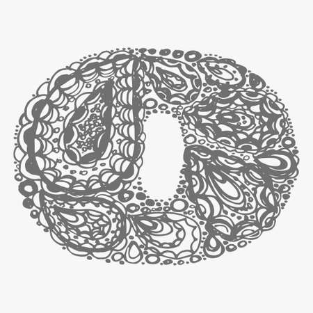 numers: Number zero. Decorative font with a paisley zen doodle tattoo ornaments filling. Display numeric. Hand drawn graphic elements in old fashion vintage style. Used for quote lettering. Gray colors.