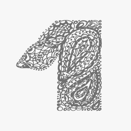 numers: Number one. Decorative font with a paisley zen doodle tattoo ornaments filling. Display numeric. Hand drawn graphic elements in old fashion vintage style. Used for quote lettering. Gray colors.