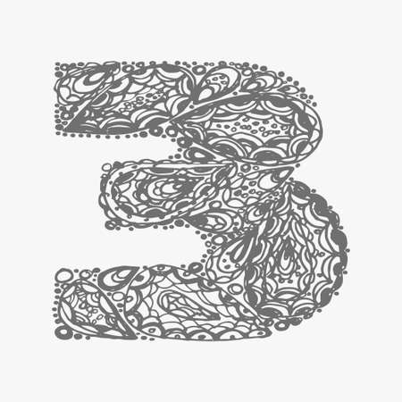 numers: Number three.  Decorative font with a paisley zen doodle tattoo ornaments filling. Display numeric. Hand drawn graphic elements in old fashion vintage style. Used for quote lettering. Gray colors. Illustration
