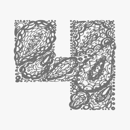 numers: Number four. Decorative font with a paisley zen doodle tattoo ornaments filling. Display numeric. Hand drawn graphic elements in old fashion vintage style. Used for quote lettering. Gray colors.