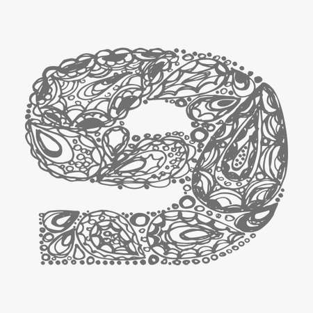 numers: Number nine. Decorative font with a paisley zen doodle tattoo ornaments filling. Display numeric. Hand drawn graphic elements in old fashion vintage style. Used for quote lettering. Gray colors.