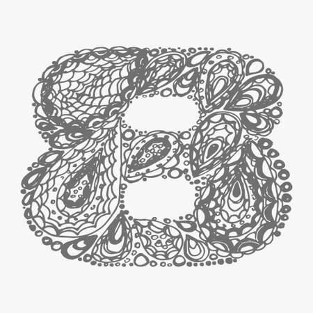 numers: Number eight. Decorative font with a paisley zen doodle tattoo ornaments filling. Display numeric. Hand drawn graphic elements in old fashion vintage style. Used for quote lettering. Gray colors.