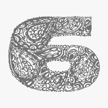 numers: Number six. Decorative font with a paisley zen doodle tattoo ornaments filling. Display numeric. Hand drawn graphic elements in old fashion vintage style. Used for quote lettering. Gray colors.