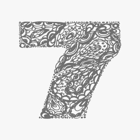 numers: Number seven. Decorative font with a paisley zen doodle tattoo ornaments filling. Display numeric. Hand drawn graphic elements in old fashion vintage style. Used for quote lettering. Gray colors.