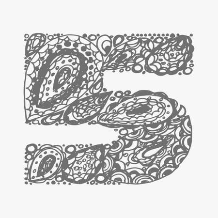 numers: Number five. Decorative font with a paisley zen doodle tattoo ornaments filling. Display numeric. Hand drawn graphic elements in old fashion vintage style. Used for quote lettering. Gray colors.