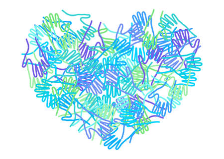 People colorful hands united together in heart form. Illustration of teamwork, solidarity, friendship, partnership, communication, united, meeting, love, amicability, charity.  イラスト・ベクター素材