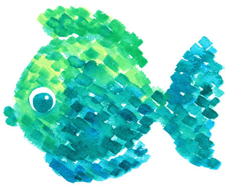 swimming animal: Watercolor colorful fish in pointillism style. Cartoon hand-drawn illustration. Abstract drawing on isolated background. Sea world. Swimming animal. Stock Photo