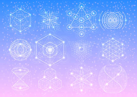 Sacred geometry symbols collection. Mandala mystery element. Used for space, universe, big bang, alchemy, religion, philosophy, astrology, science, physics, chemistry and spirituality themes.