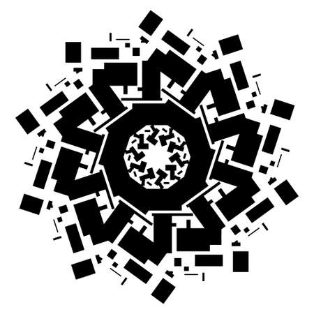 spiritual energy: Mandala with sacred geometry symbols and elements. Alchemy, religion, philosophy, astrology and spirituality themes. Magic abstract sign. Geometric shapes. Black and white.