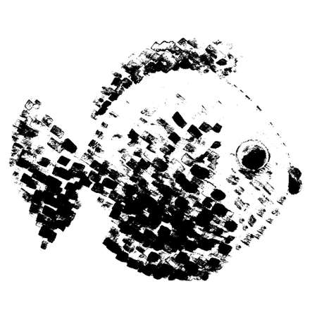 swimming animal: Watercolor vector fish in pointillism style. Cartoon hand-drawn illustration. Abstract traced drawing. Sea world. Swimming animal.