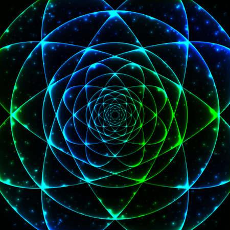 Heilige Geometrie symbool. Mandala mysterie element. Gebruikt voor ruimte, heelal, grote klap, alchemie, religie, filosofie, astrologie, wetenschap, natuurkunde, scheikunde en spiritualiteit thema's.