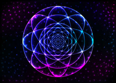 Sacred geometry symbol. Mandala mystery element. Used for space, universe, big bang, alchemy, religion, philosophy, astrology, science, physics, chemistry and spirituality themes. Illustration