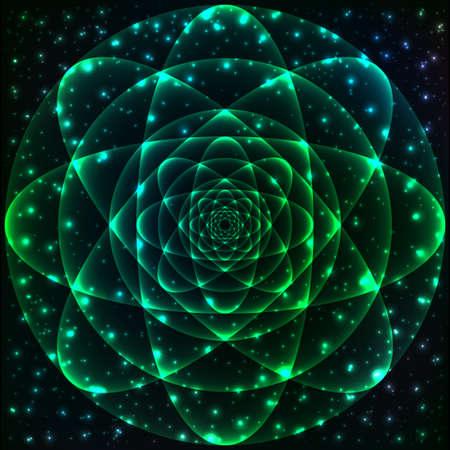 spiritual meditation creation: Sacred geometry symbol. Mandala mystery element. Used for space, universe, big bang, alchemy, religion, philosophy, astrology, science, physics, chemistry and spirituality themes. Illustration