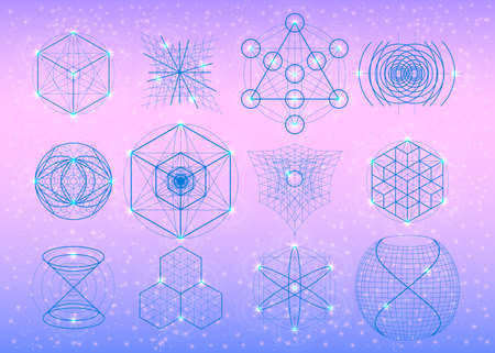the big bang: Sacred geometry symbols set. Mandala mystery element. Used for space, universe, big bang, alchemy, religion, philosophy, astrology, science, physics, chemistry and spirituality themes.