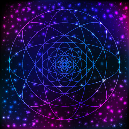 Sacred geometry symbol. Mandala mystery element. Used for space, universe, big bang, alchemy, religion, philosophy, astrology, science, physics, chemistry and spirituality themes. Stock Illustratie