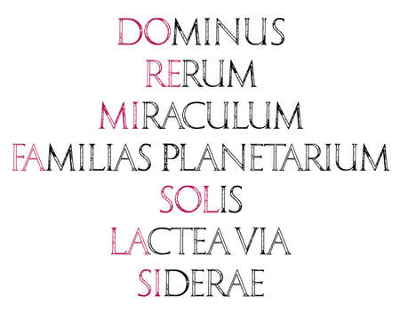 re do: Music. The sacred meaning of musical notes. DO - God, RE - Matter, MI - Miracle, FA - Solar System, SOL - Sun, LA - Milky way, SI - Heaven. Roman Classic Alphabet. Stock Photo