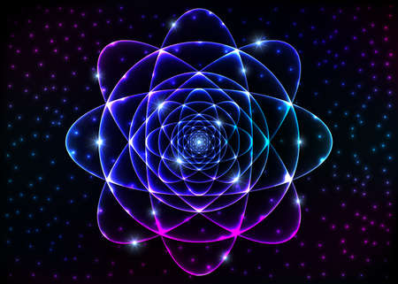 Sacred geometry symbol. Mandala mystery element. Background for space, universe, big bang, alchemy, religion, philosophy, astrology, science, physics, chemistry and spirituality themes. Stock Photo