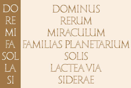 re: Music. The sacred meaning of musical notes. DO RE MI FA SOL LA SI DO. Roman Classic Alphabet with a Method of Geometrical Construction for Large Letters. Stock Photo