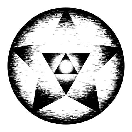 spiritual meditation creation: Sacred geometry symbol. Mandala mystery element. Used for space, universe, big bang, alchemy, religion, philosophy, astrology, science, physics, chemistry and spirituality themes. Stock Photo