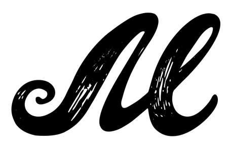 Letter c. calligraphy alphabet typeset lettering. hand drawn.. stock