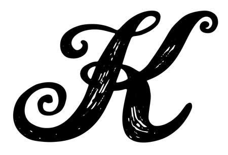 Letter b. calligraphy alphabet typeset lettering. hand drawn.. stock