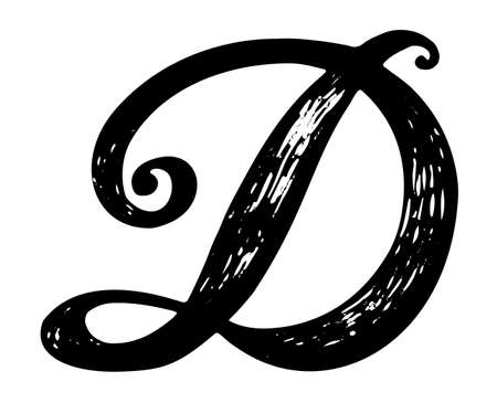 Letter D Calligraphy Alphabet Typeset Lettering Hand Drawn Capital And Lower