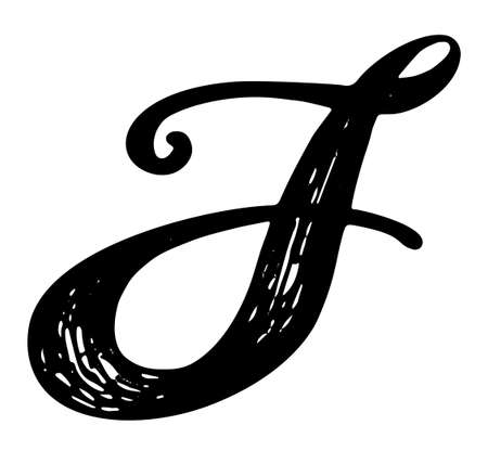 Letter J Calligraphy Alphabet Typeset Lettering Hand Drawn Capital And Lower