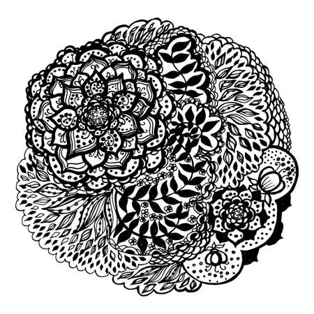 Floral doodle tattoo design. Illustration with paisley ornaments. Hand-drawn flowers.
