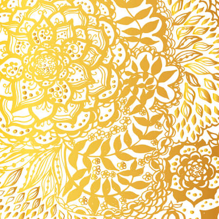 Floral doodle tattoo background. Illustration with paisley ornaments. Hand-drawn flowers. Universal backdrop for everything. Gold color. Illustration