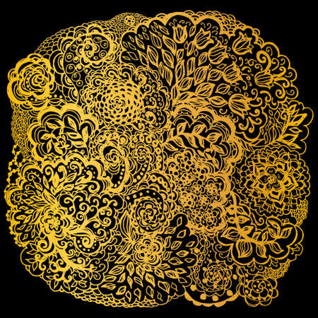 Floral doodle tattoo design. Illustration with paisley ornaments. Hand-drawn flowers. Gold color