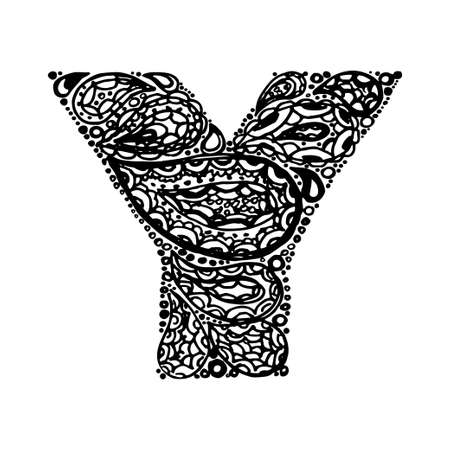 Letter Y. Decorative Alphabet with a paisley zen doodle tattoo ornaments filling. Display font and numbers. Hand drawn letters in vintage style. Used for quote lettering.
